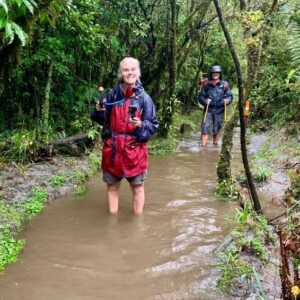 get fit hiking - female hiker in ankle deep water