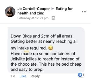 eating for energy and zing healthy eating program testimonial for jo cc holistic pt in hobart