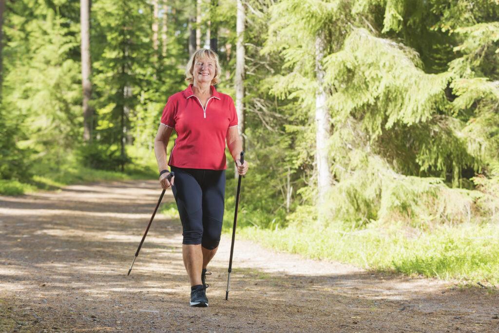 healthy woman hiking